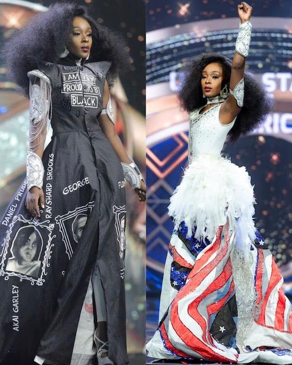 Abena Appiah with her Black Lives Matter themed national costume during Miss Grand International