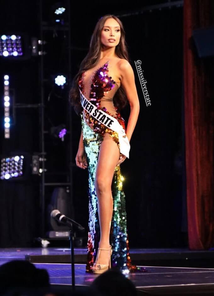 Kataluna's iconic rainbow LGBTQ+ pride evening gown at the Miss Nevada USA 2021 competition
