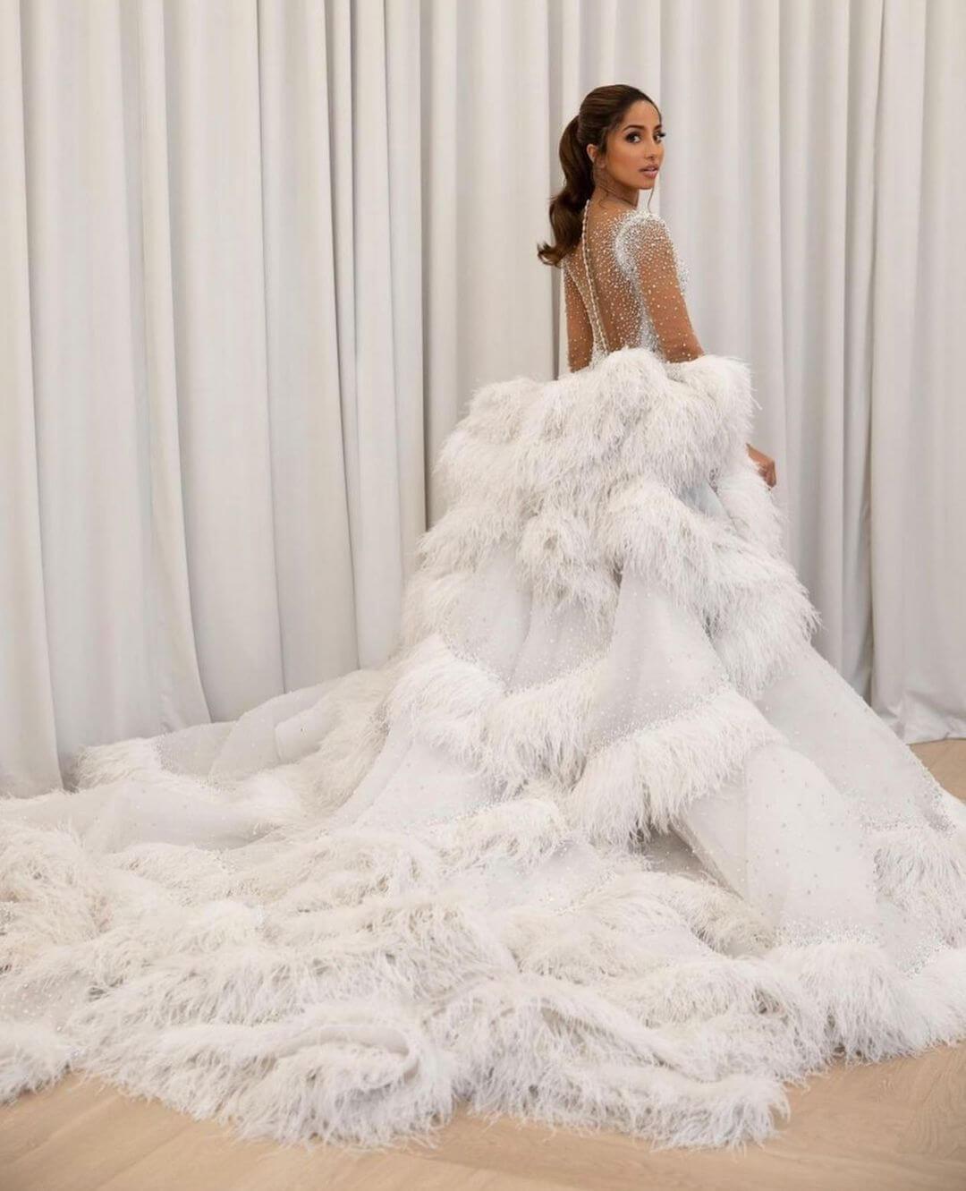 The unworn extra train on Maria Thattil, Miss Australia's evening gown
