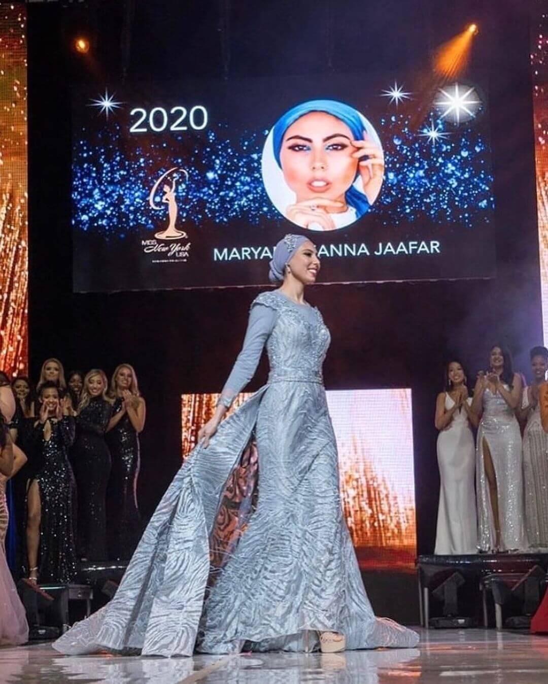 Maraym Jafaar competing in evening gown during Miss New York USA