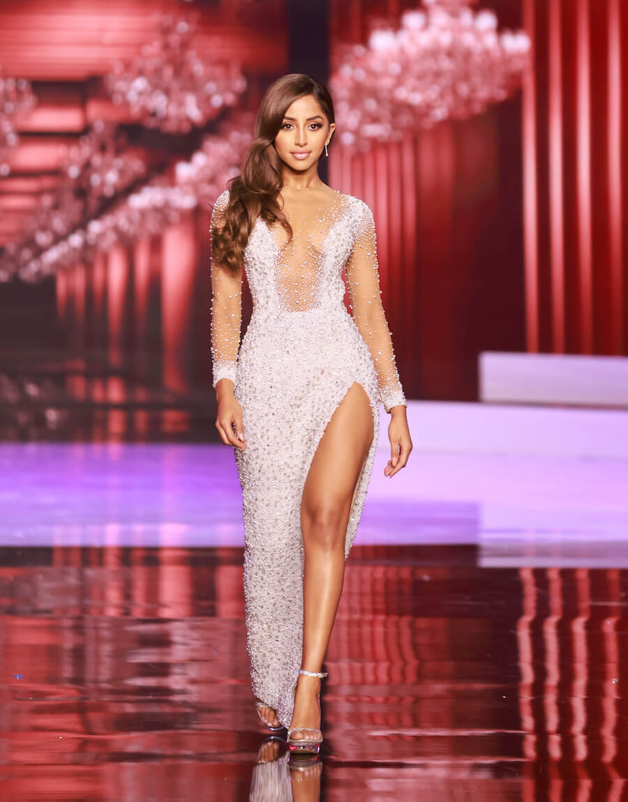 Miss Australia 2020, during the top 10 evening gown segment of Miss Universe