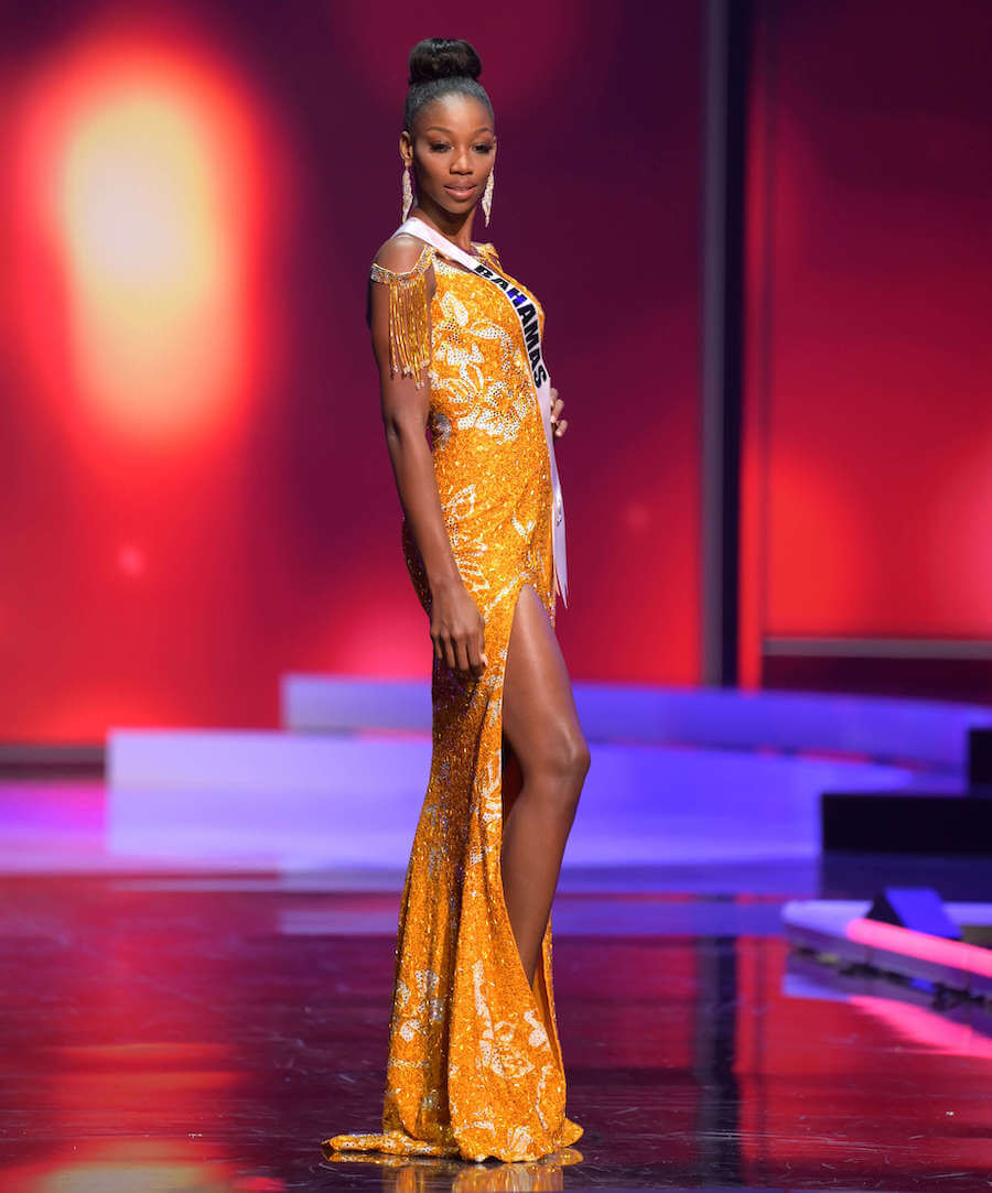 Miss Bahamas 2020 during the Miss Universe evening gown preliminary competition