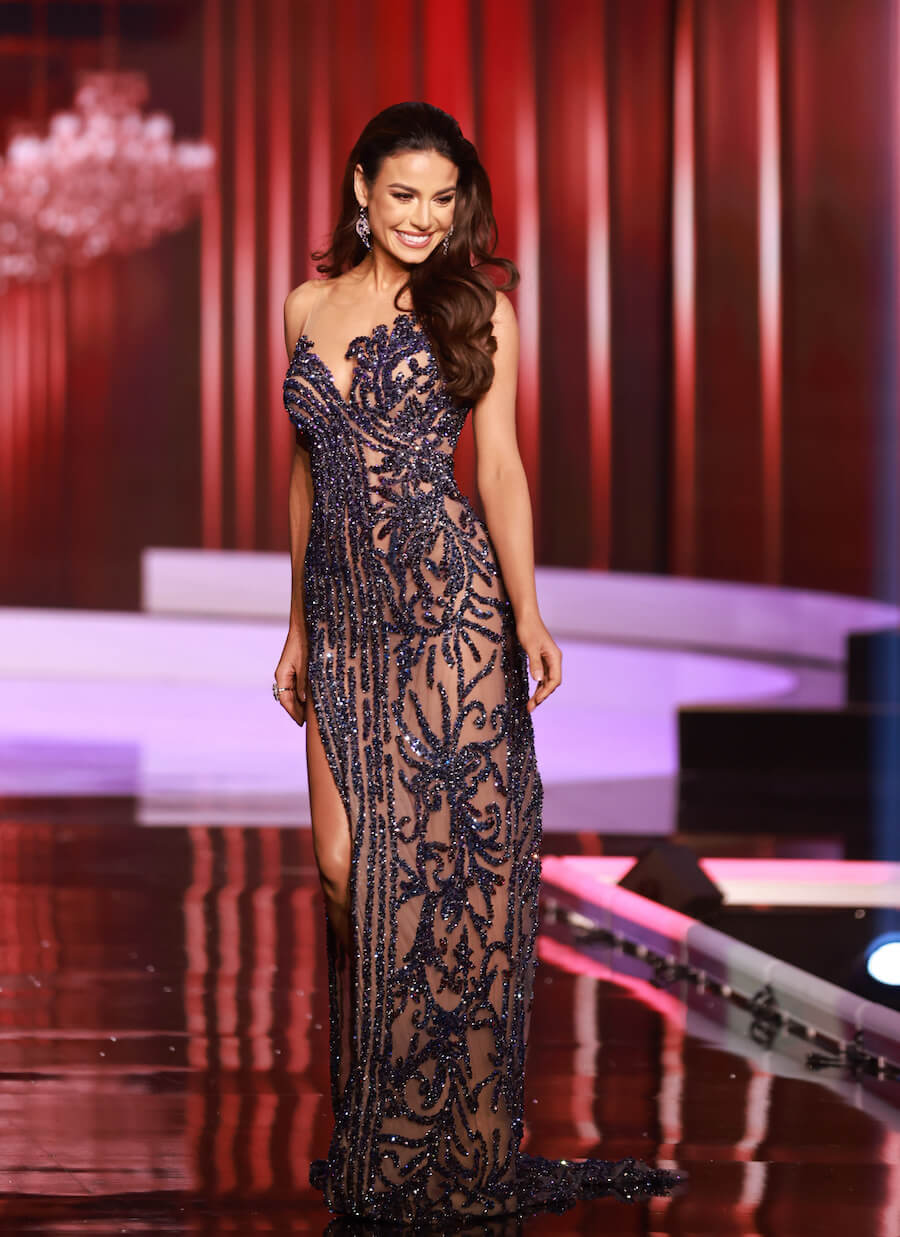 Miss Brazil 2020, during the top 10 evening gown segment of Miss Universe