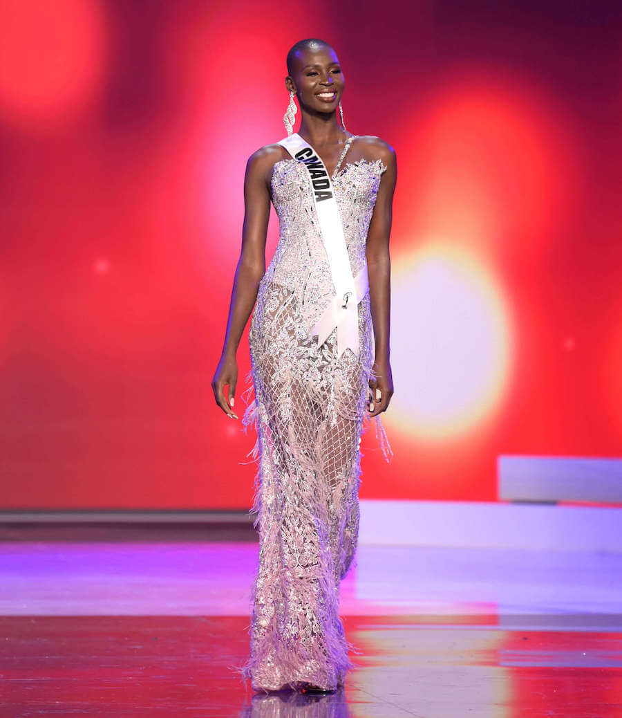 Miss Canada 2020 during the Miss Universe evening gown preliminary competition
