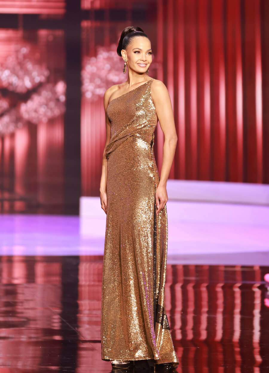 Miss Dominican Republic 2020, during the top 10 evening gown segment of Miss Universe