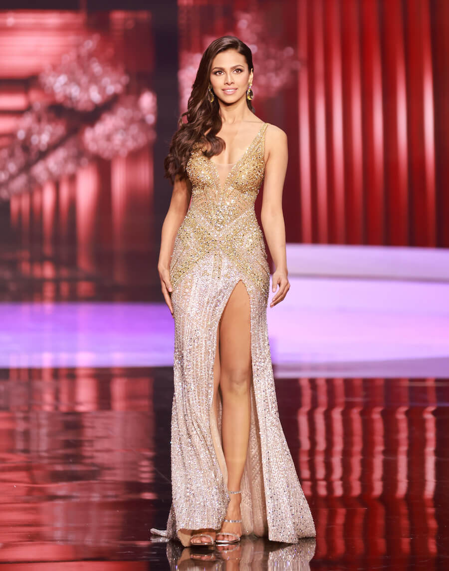 Miss India 2020, during the top 10 evening gown segment of Miss Universe