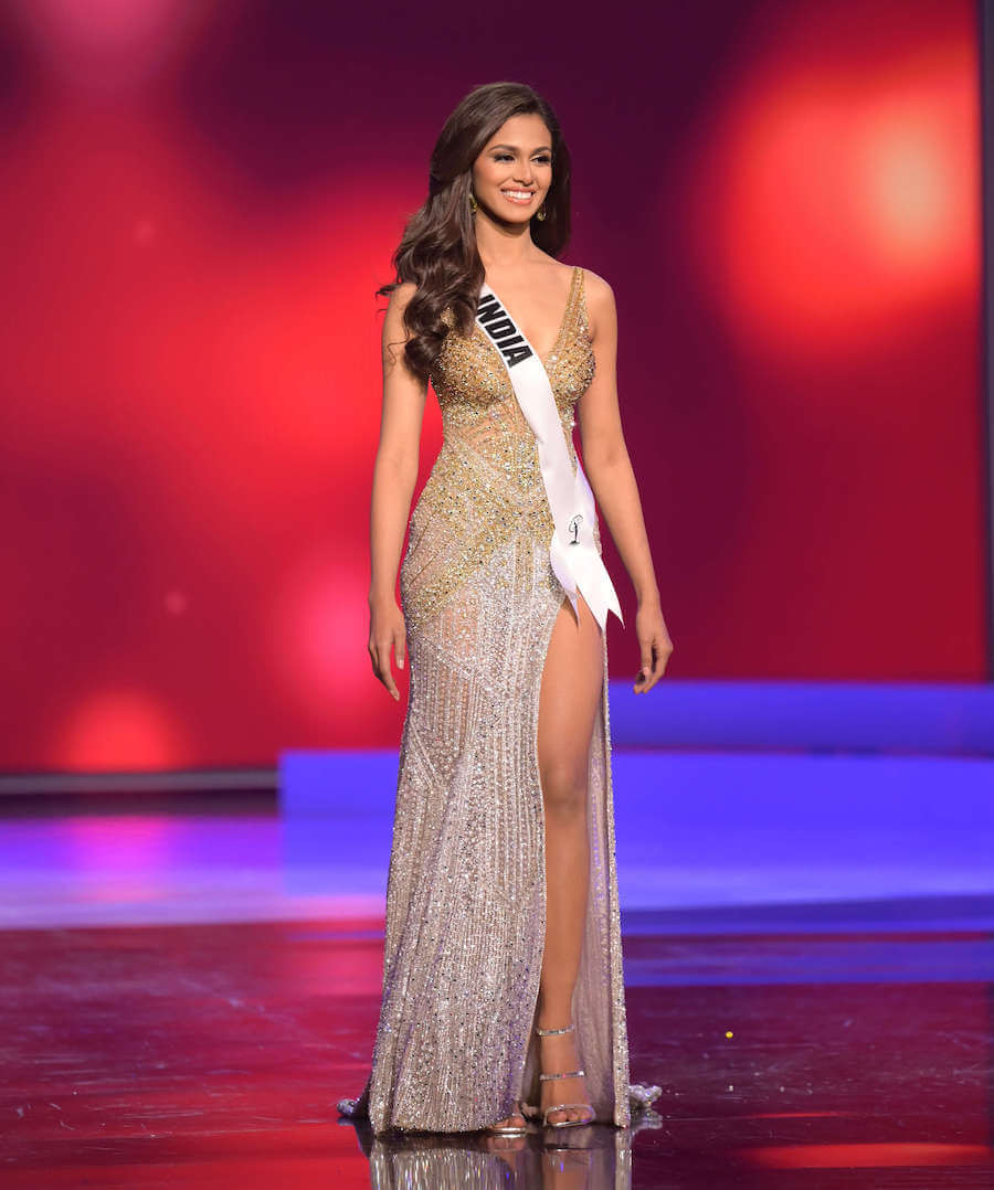 Miss India 2020 during the Miss Universe evening gown preliminary competition