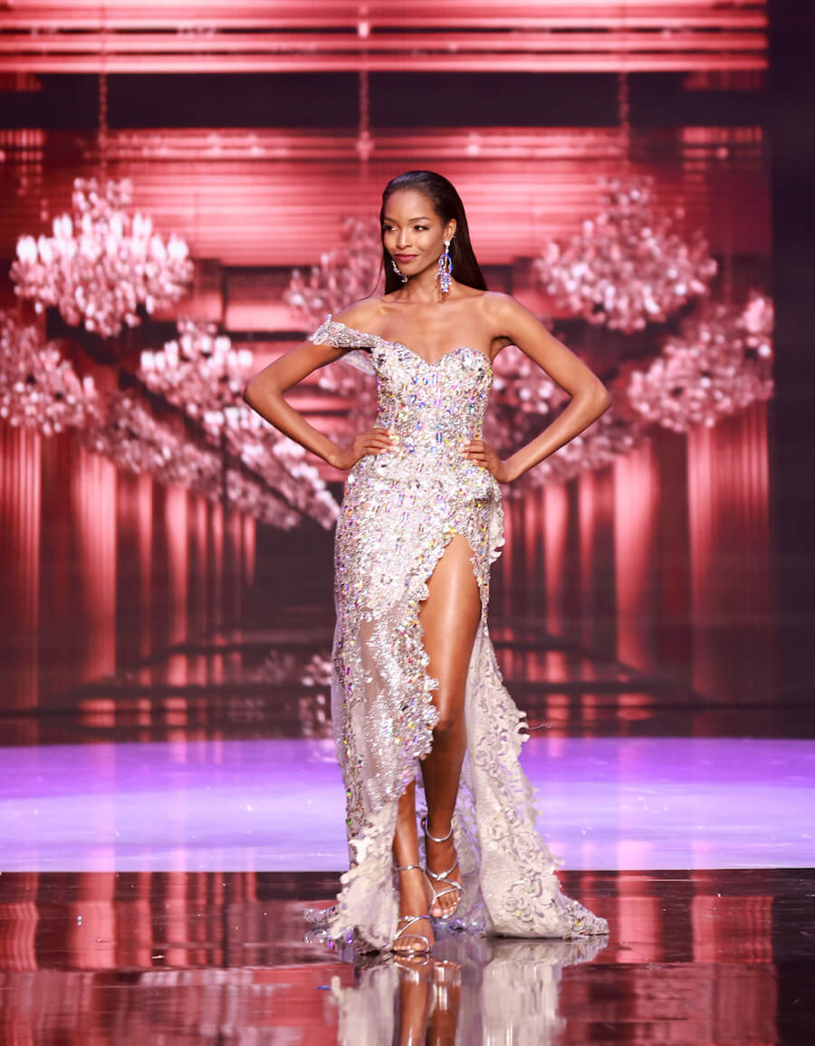 Miss Jamaica 2020, during the top 10 evening gown segment of Miss Universe