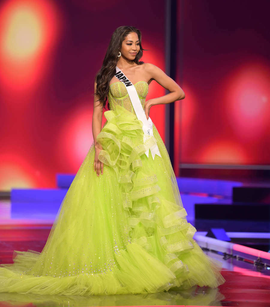 Miss Japan 2020 during the Miss Universe evening gown preliminary competition