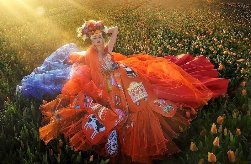 Miss Nederland Denise Speelman by Miss Pearl Couture, Dutch National Costume