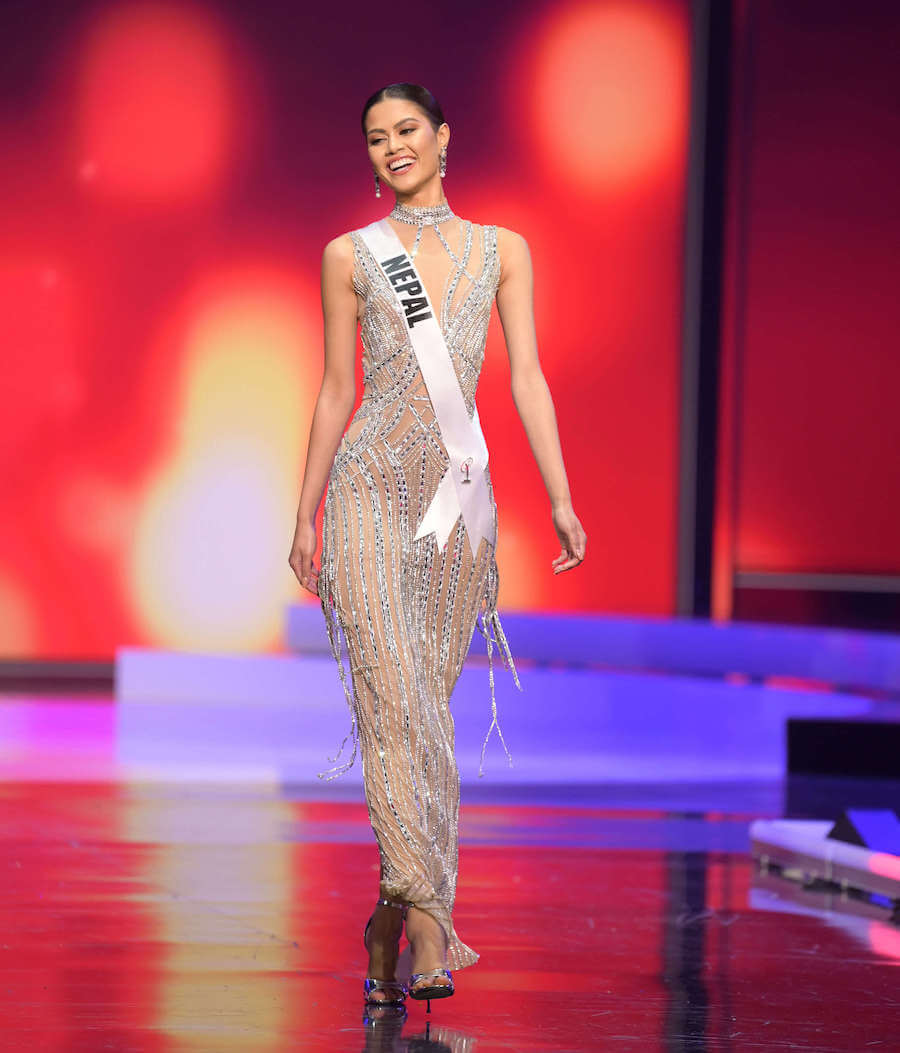 Miss Nepal 2020 during the Miss Universe evening gown preliminary competition