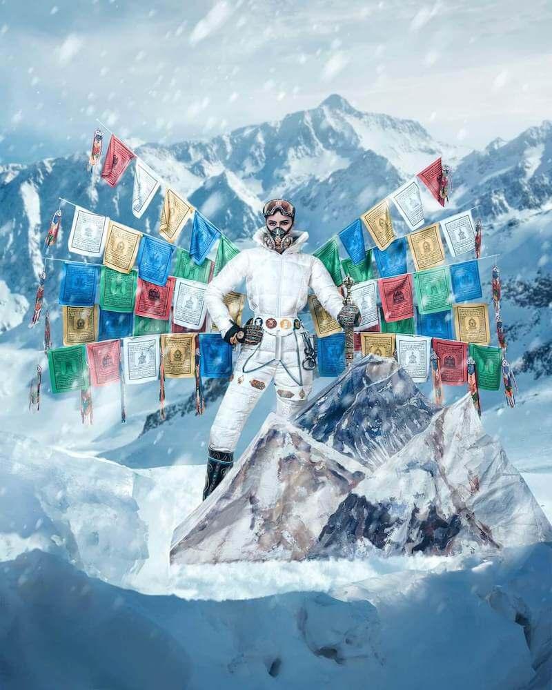 "Miss Nepal Anshika Sharma wearing her ""Ode to Mountaineers"" national costume"