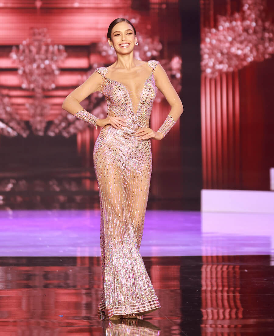 Miss Peru 2020, during the top 10 evening gown segment of Miss Universe