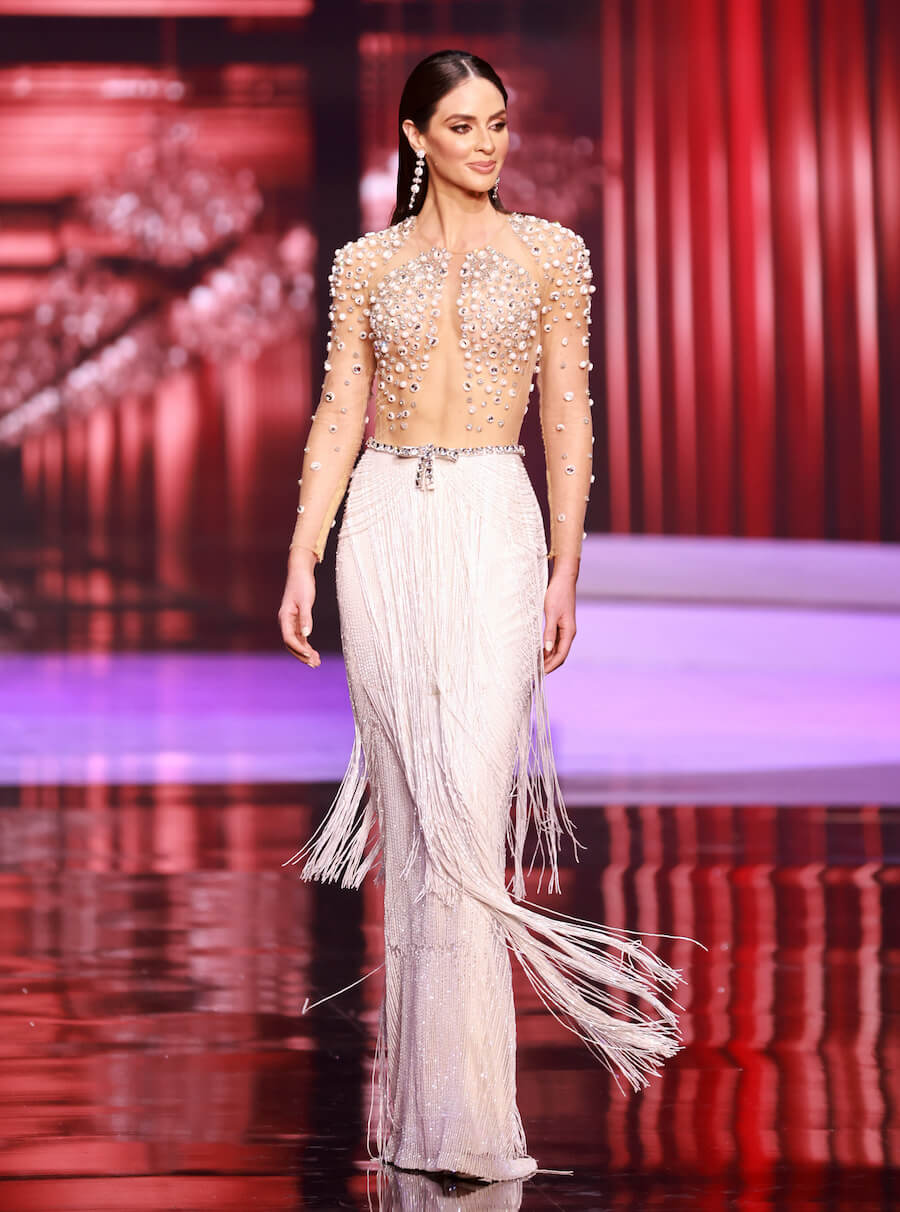 Miss Puerto Rico 2020, during the top 10 evening gown segment of Miss Universe