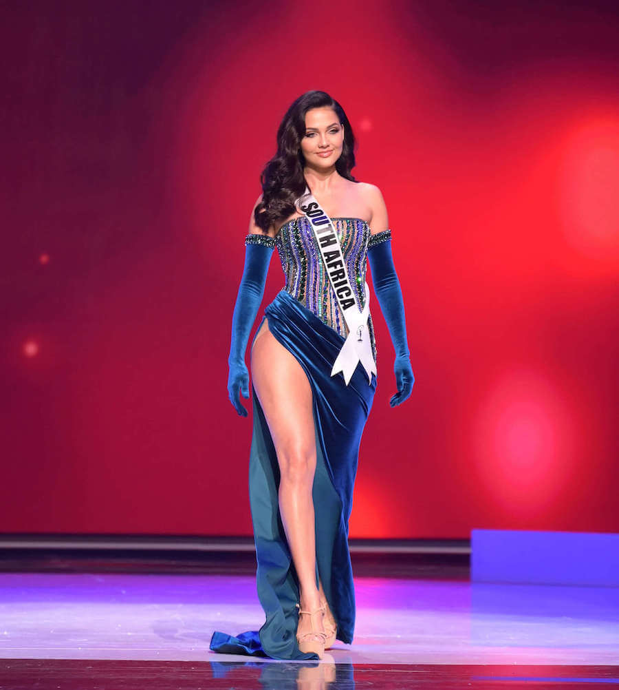 Miss South Africa 2020 during the Miss Universe evening gown preliminary competition