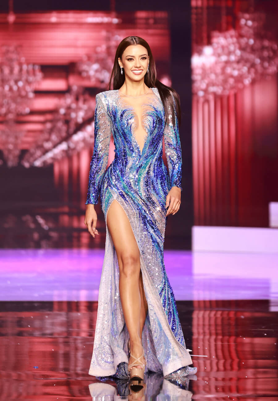 Miss Thailand 2020, during the top 10 evening gown segment of Miss Universe