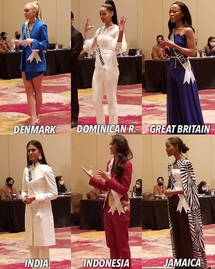 Contestants during the Miss Universe 2020 Judges Preliminary Interview