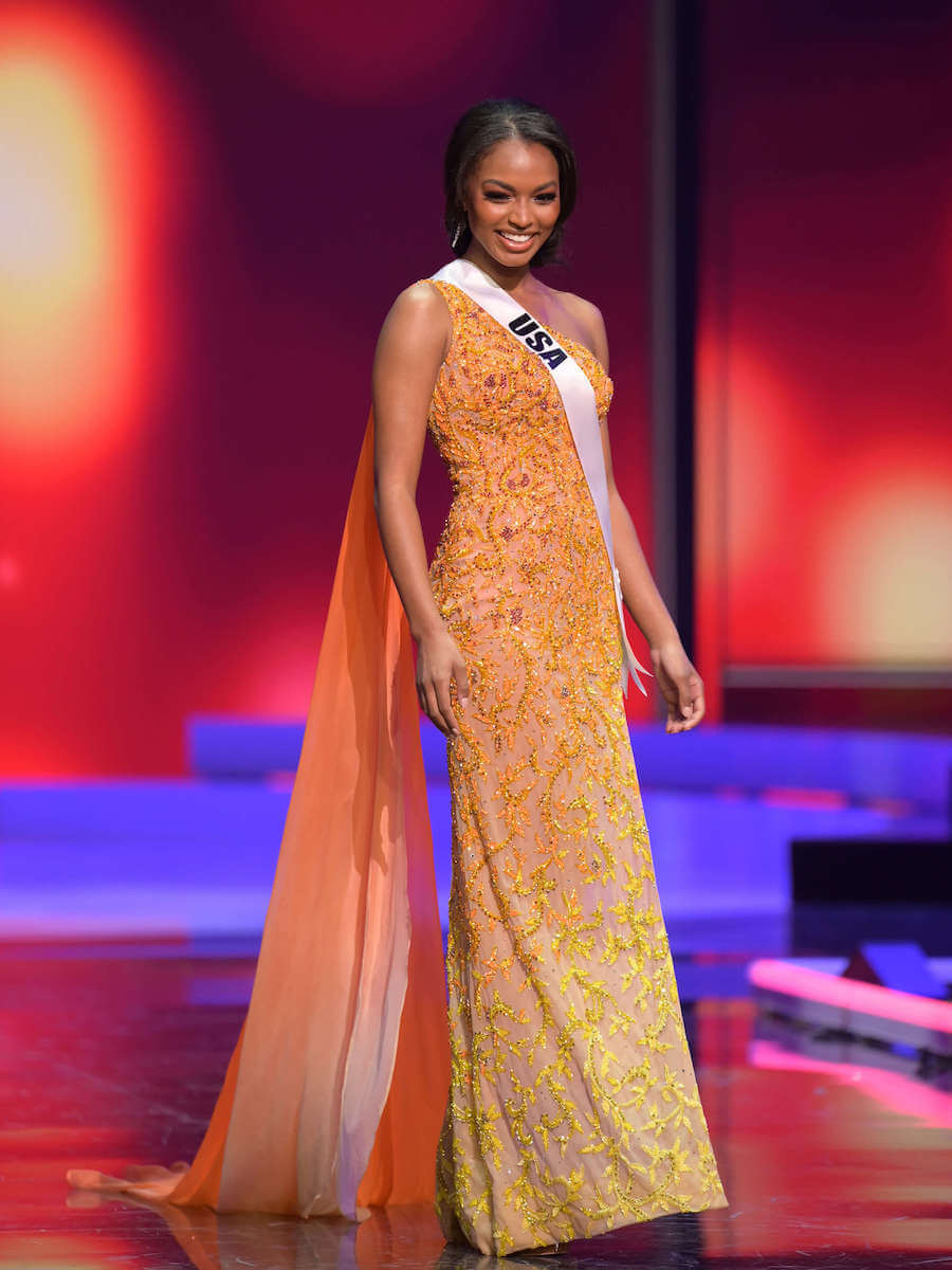 Miss USA 2020 during the Miss Universe evening gown preliminary competition