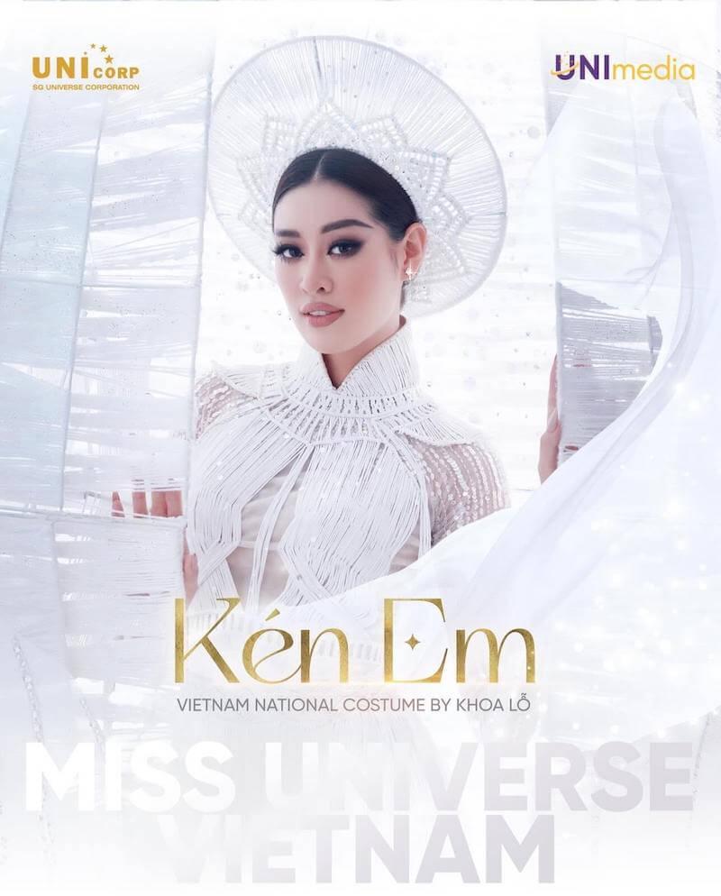 "Miss Vietnam Nguyen Tran Khanh Van, wearing an Ao Dai that tells the ""Ken Em"" costume story for her national costume"