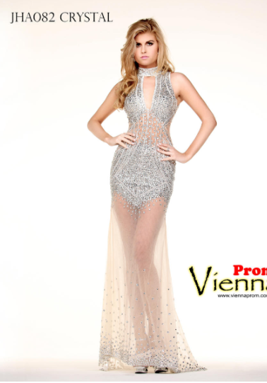 Style JHA082 VIENNA Silver Size 4 Pageant V Neck Halter Sequin Straight Dress on Queenly