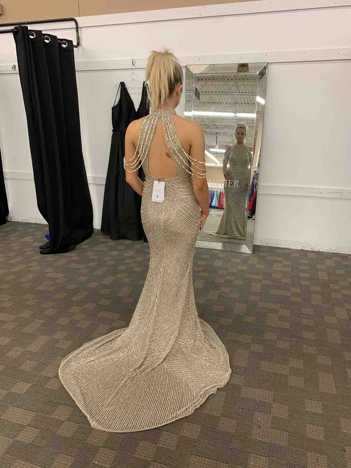 Sherri Hill Gold Size 2 Jewelled Halter Sequin Straight Dress on Queenly