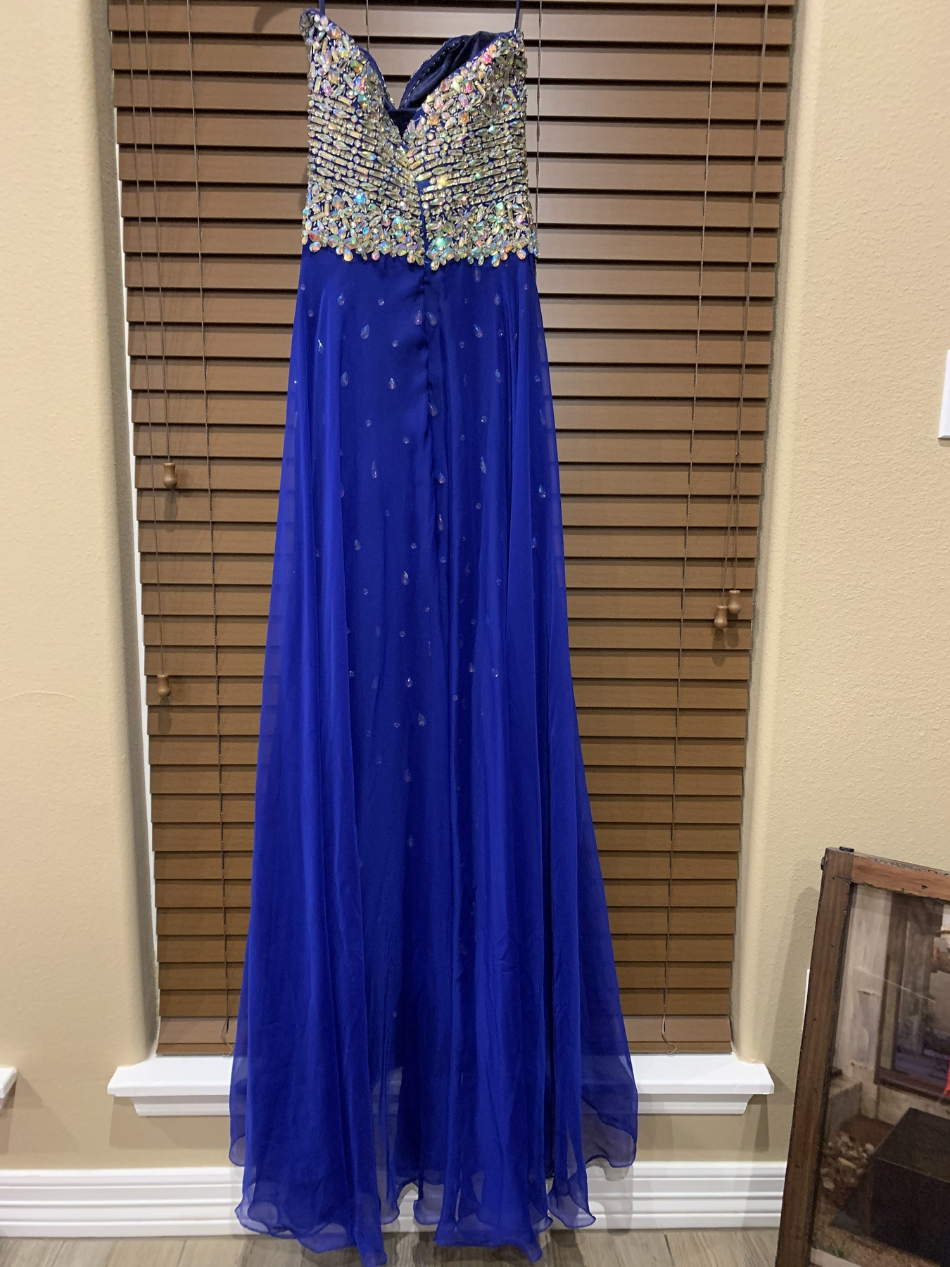 Ritzee Blue Size 2 Sequin Spaghetti Strap Sweetheart Mini A-line Dress on Queenly