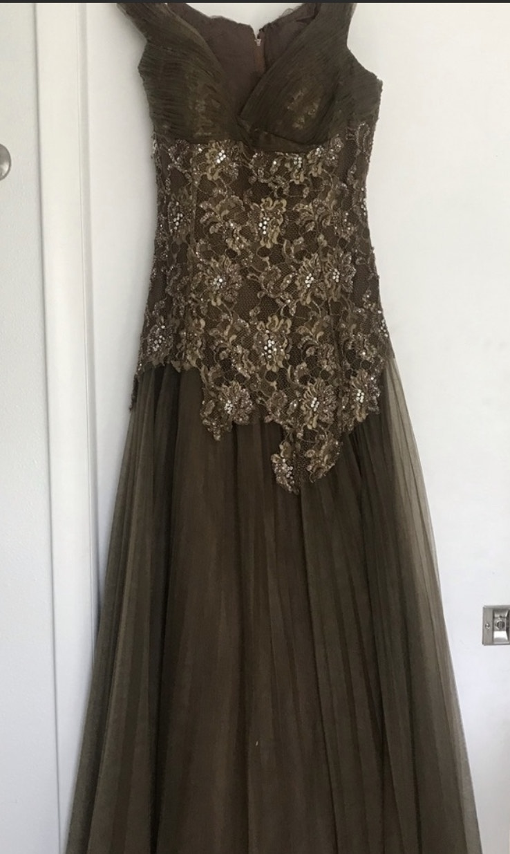 Jovani Multicolor Size 6 Lace Sequin Ball gown on Queenly
