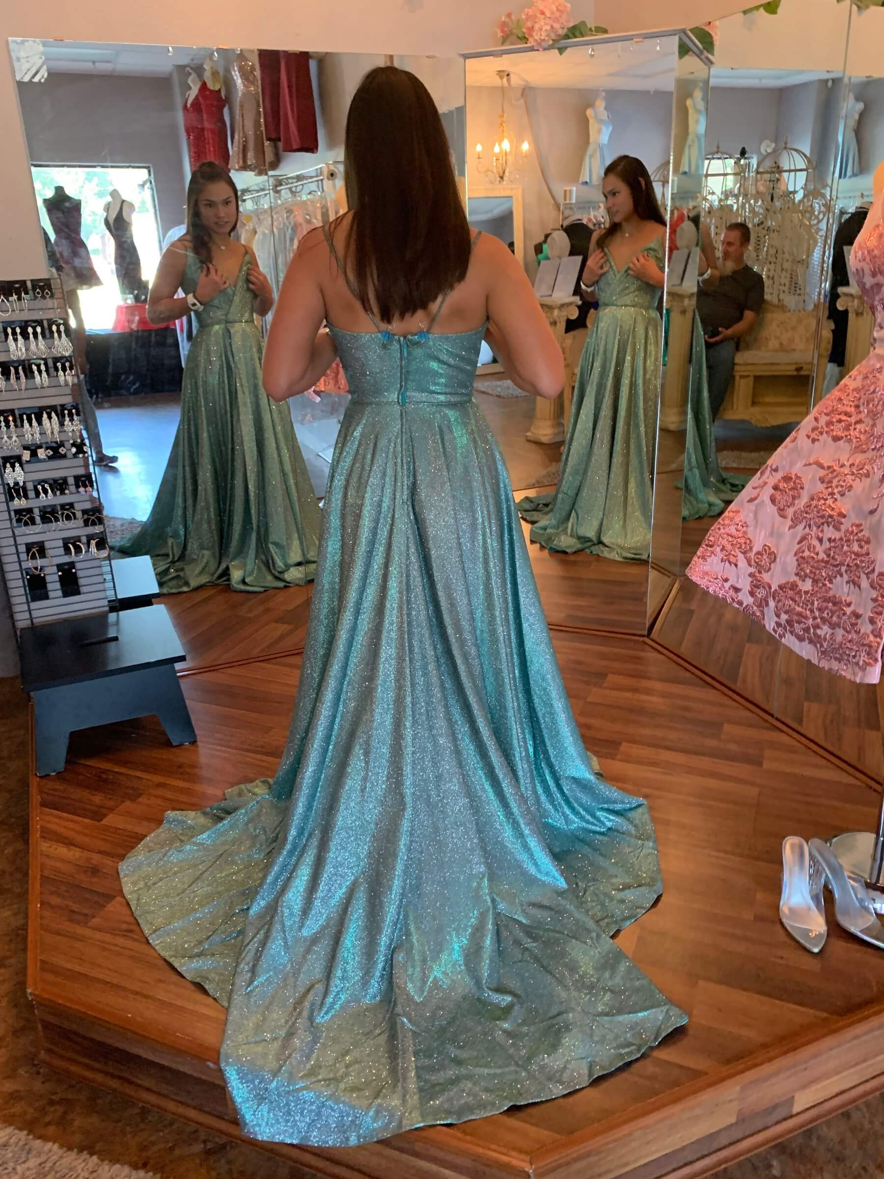 Sherri Hill Blue Size 2 Turquoise Silver Side slit Dress on Queenly
