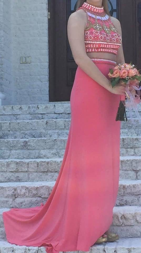 Sherri Hill Orange Size 6 Sequin Coral Prom Two Piece Straight Dress on Queenly