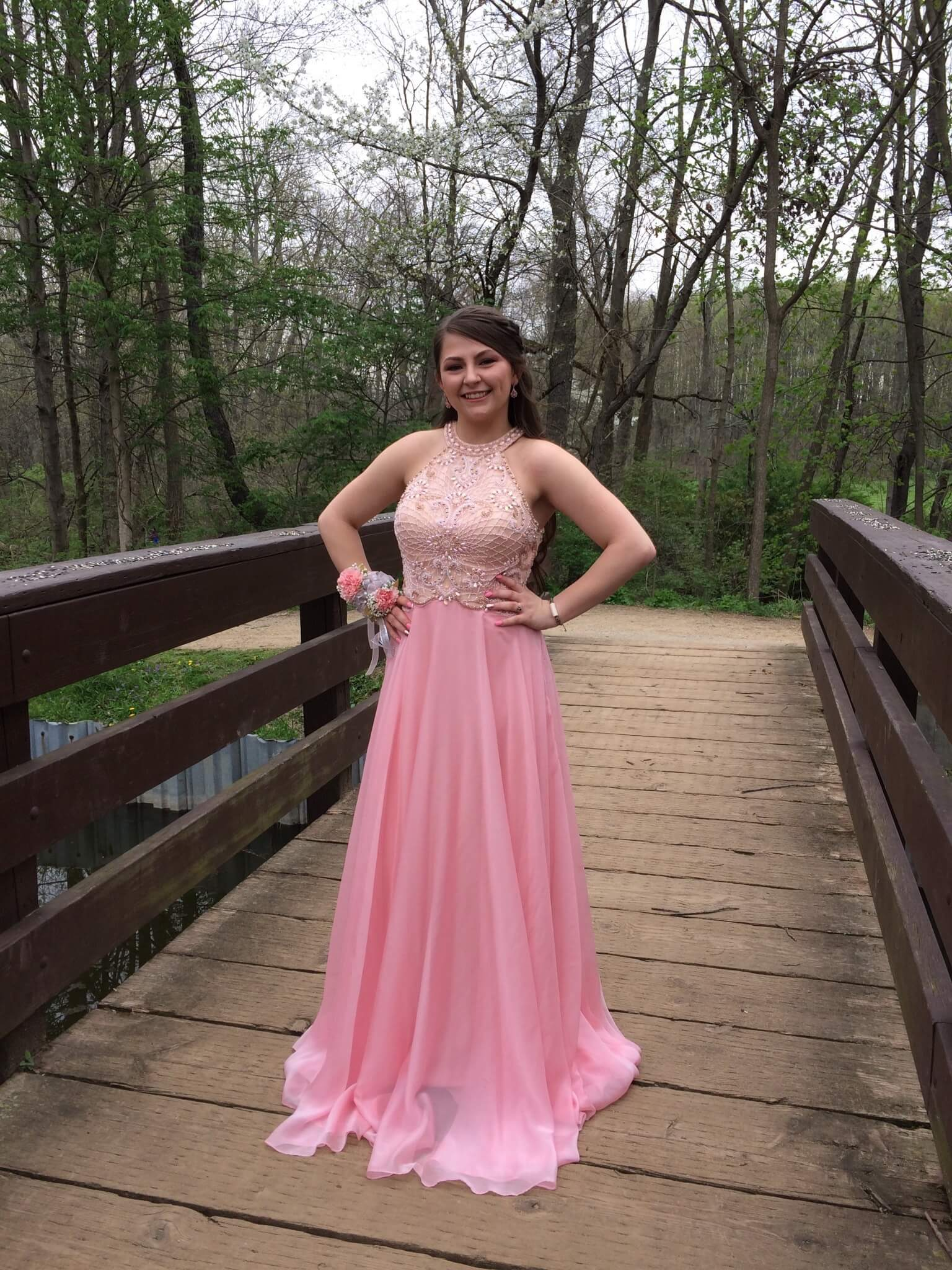 Ellie Wilde Pink Size 8 Halter Cut Out Prom Ball gown on Queenly