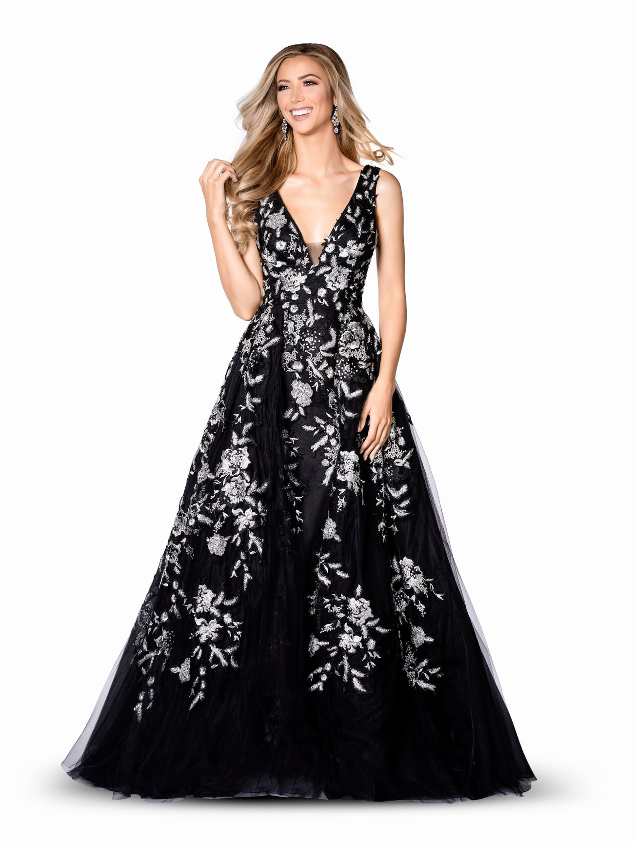 Vienna Black Size 00 Plunge Floral Overskirt A-line Dress on Queenly