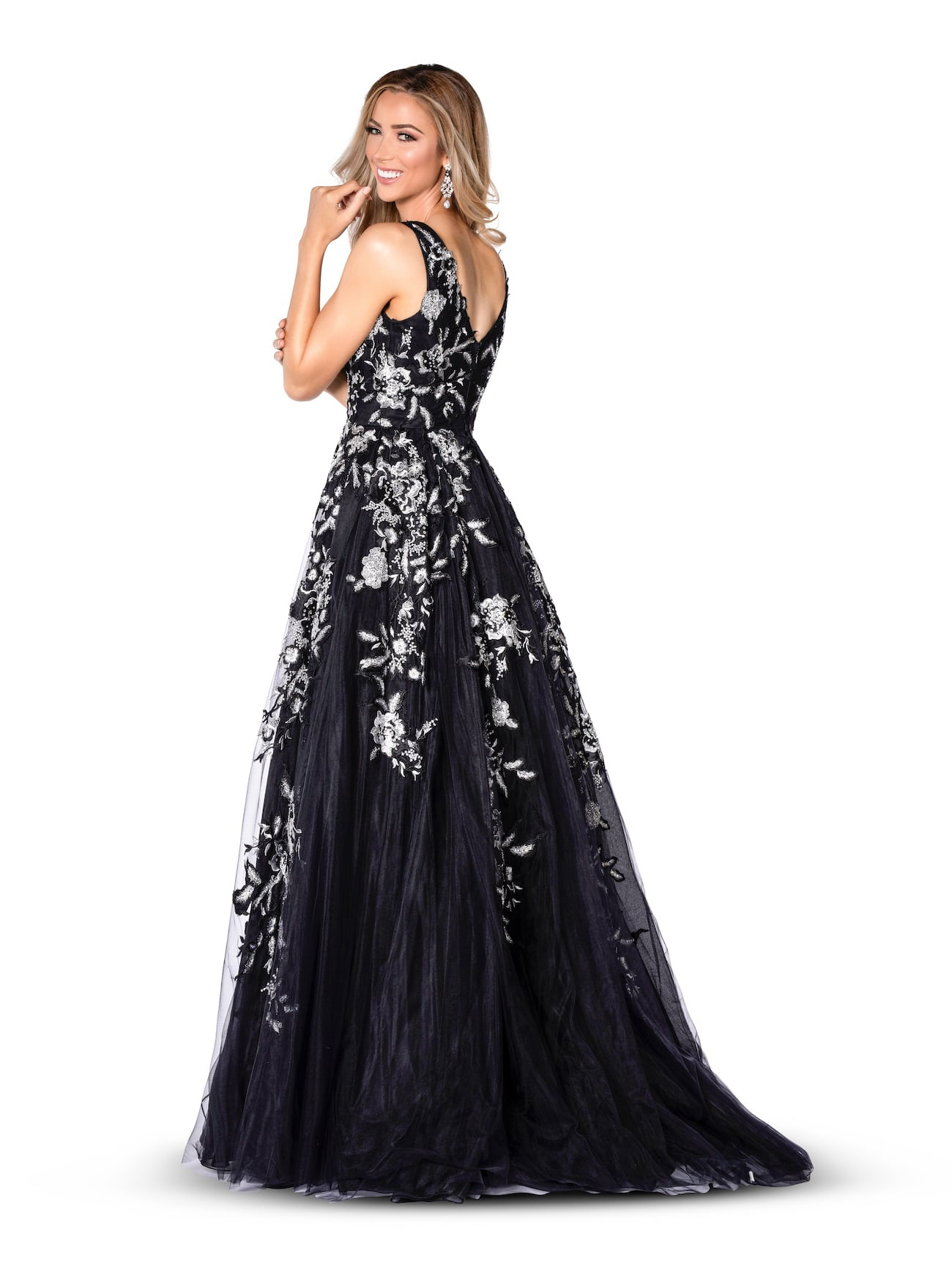 Vienna Black Size 8 Overskirt Plunge Floral A-line Dress on Queenly
