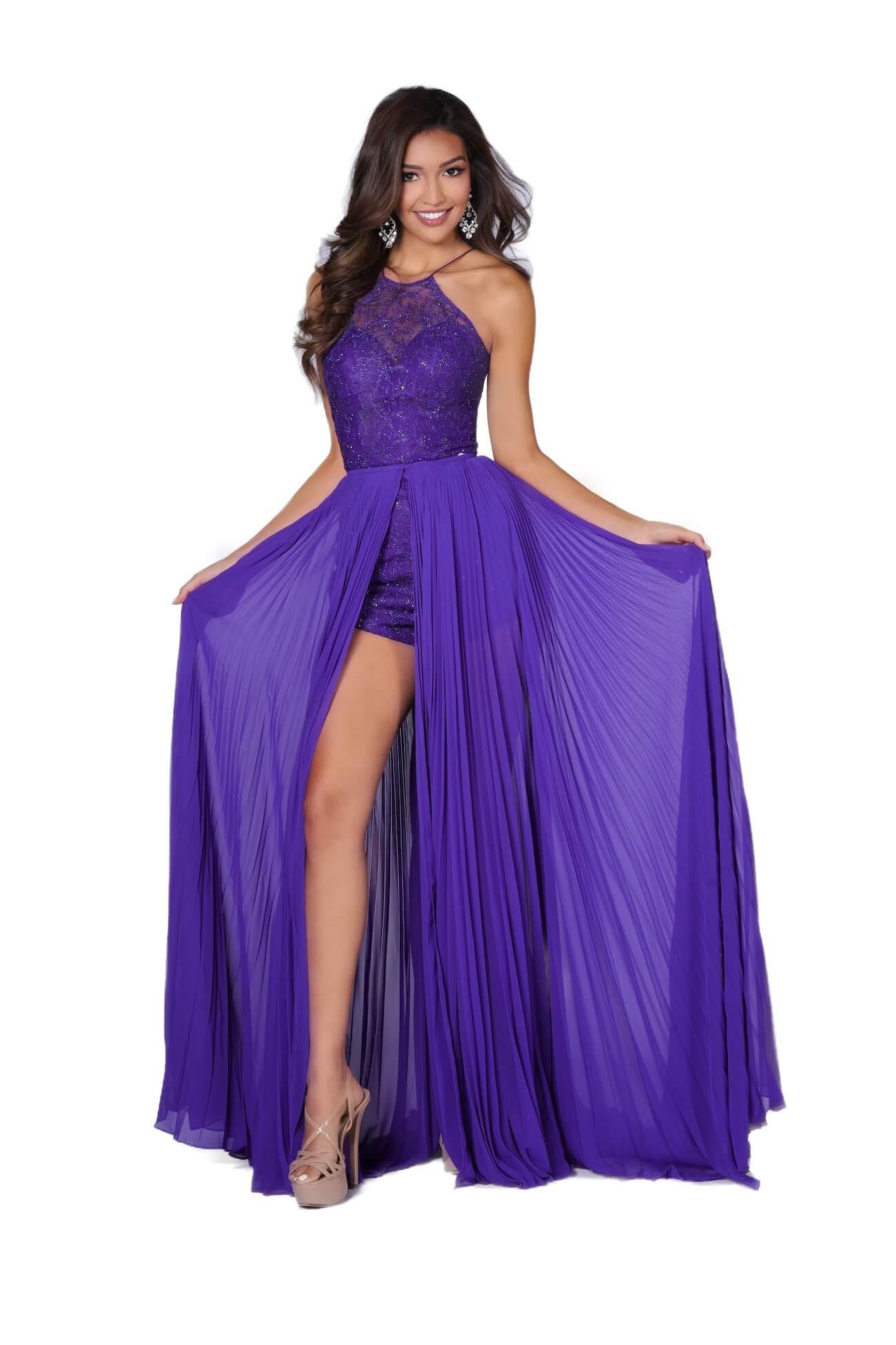 Vienna Purple Size 4 Overskirt Halter Romper/Jumpsuit Dress on Queenly