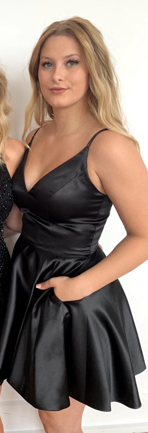 Sherri Hill Black Size 6 Silk Pockets A-line Dress on Queenly
