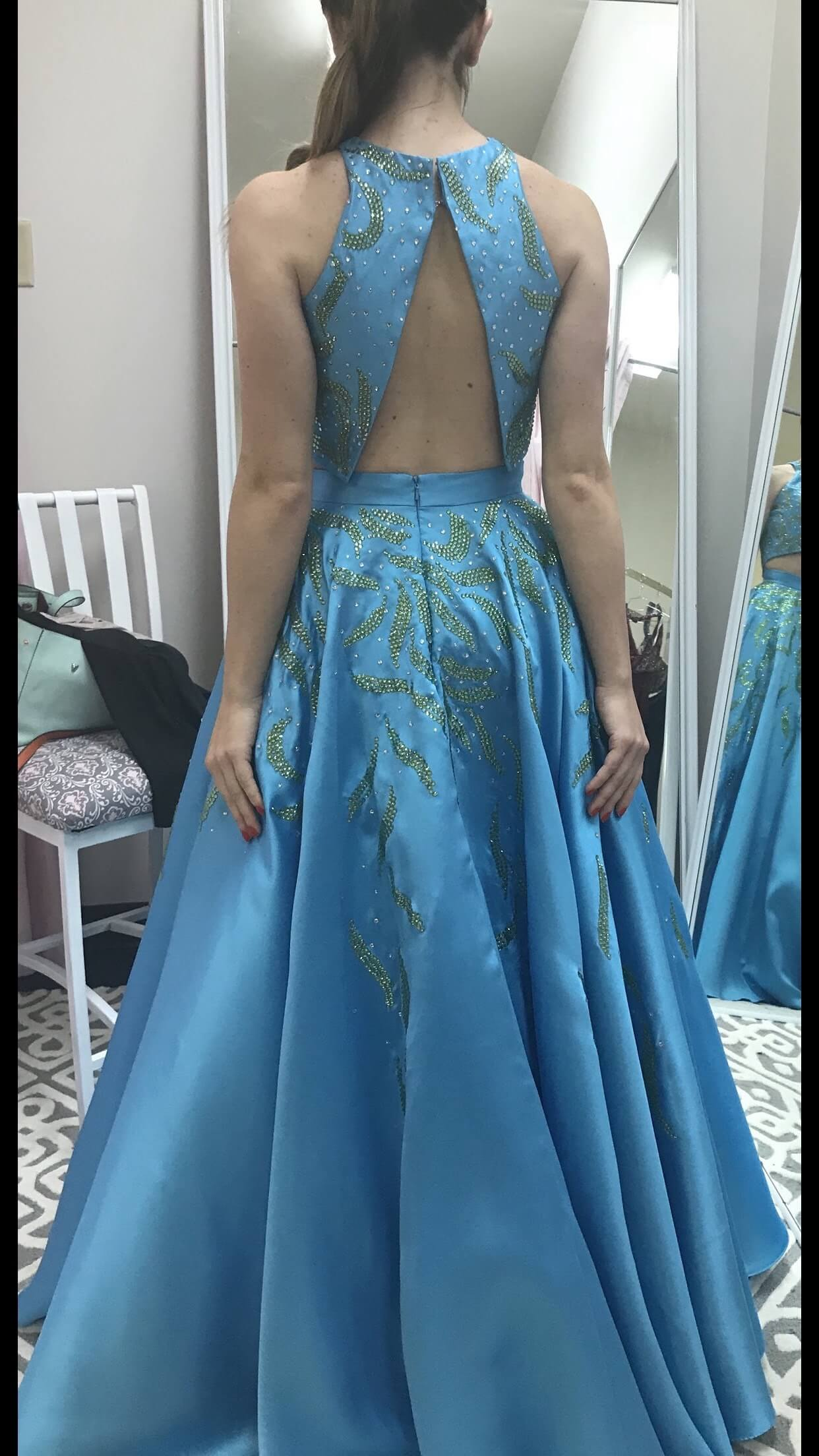 Blush Blue Size 2 Fun Fashion Ball gown on Queenly