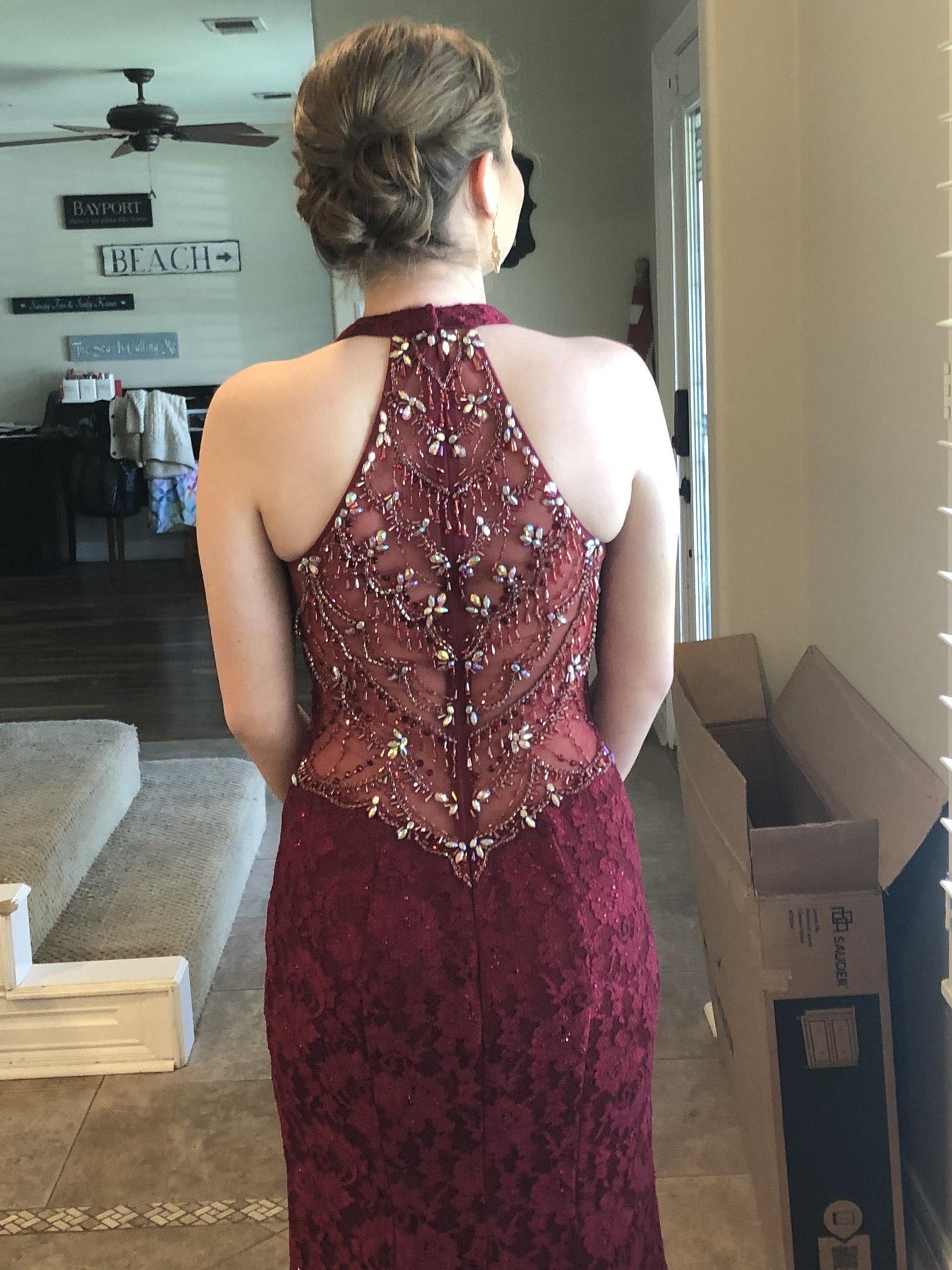 Ellie Wilde Red Size 6 Prom Burgundy Mermaid Dress on Queenly