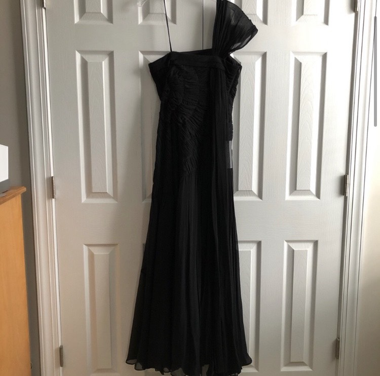 Ann Taylor Black Size 2 Prom One Shoulder A-line Dress on Queenly