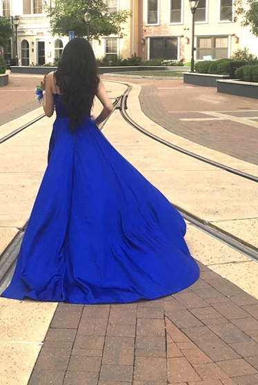 Sherri Hill Blue Size 2 Side Slit Ball gown on Queenly