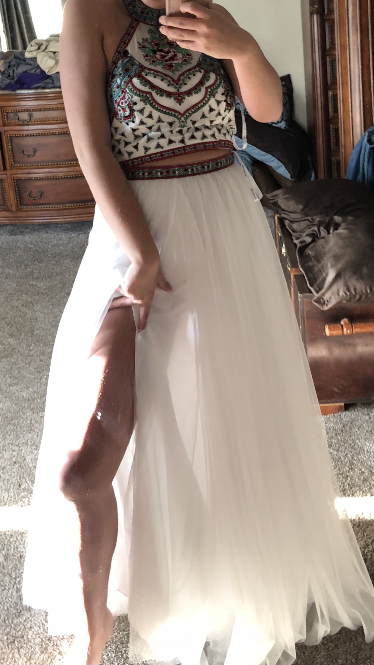 White Size 12 Side slit Dress on Queenly