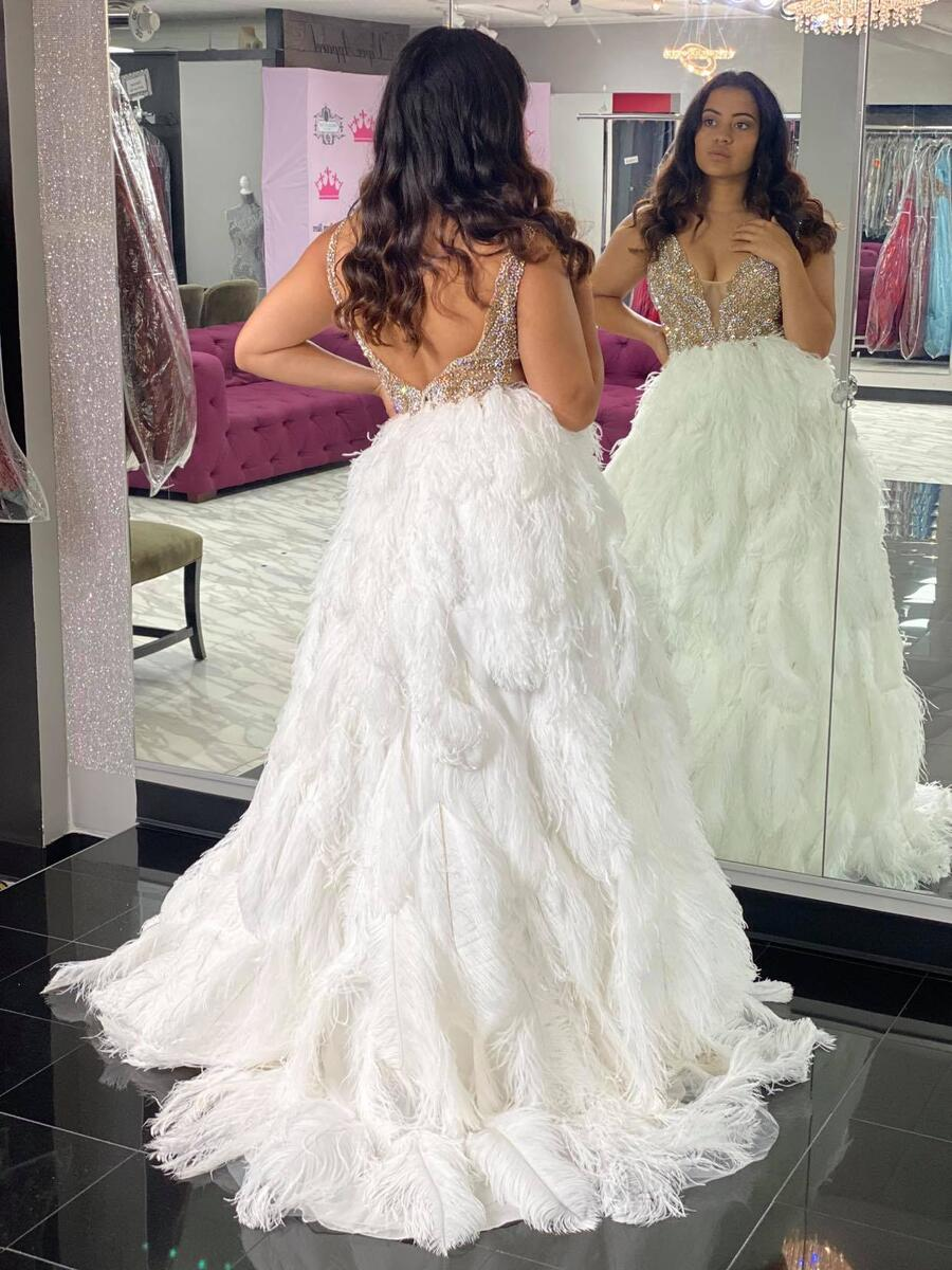 Jovani Couture White Size 6 Silver Train Tall Height Custom Jovani Ball gown on Queenly
