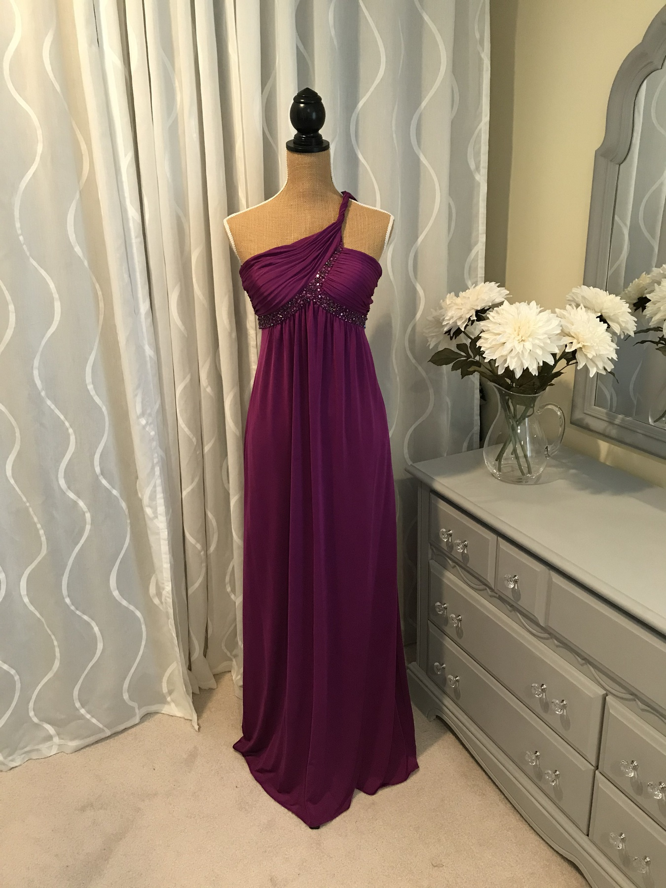 Adrianna Papell Purple Size 6 Fitted One Shoulder Prom Straight Dress on Queenly