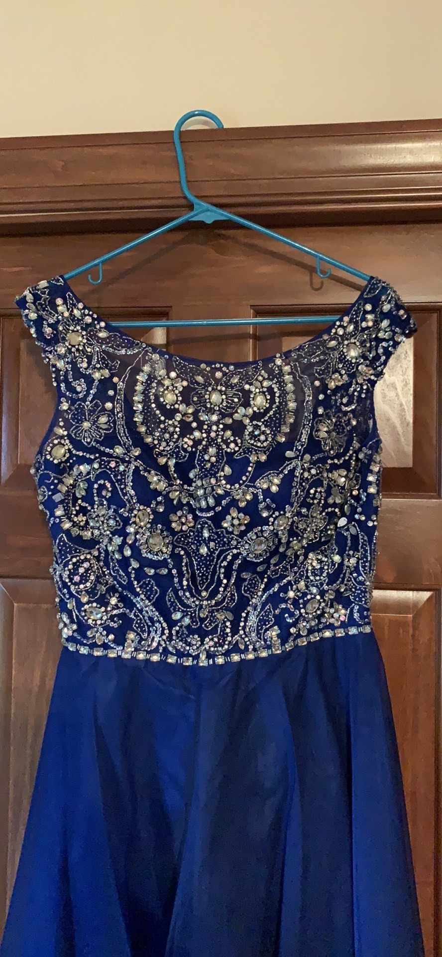 Sherri Hill Blue Size 12 Homecoming Sequin A-line Dress on Queenly
