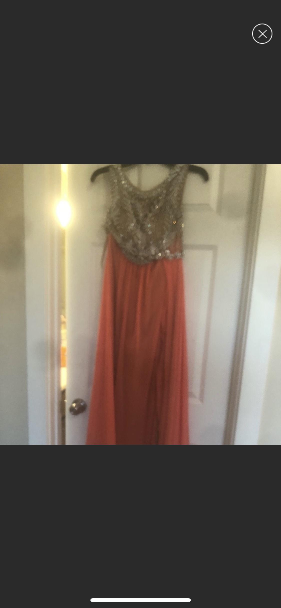 Orange Size 10 Side slit Dress on Queenly
