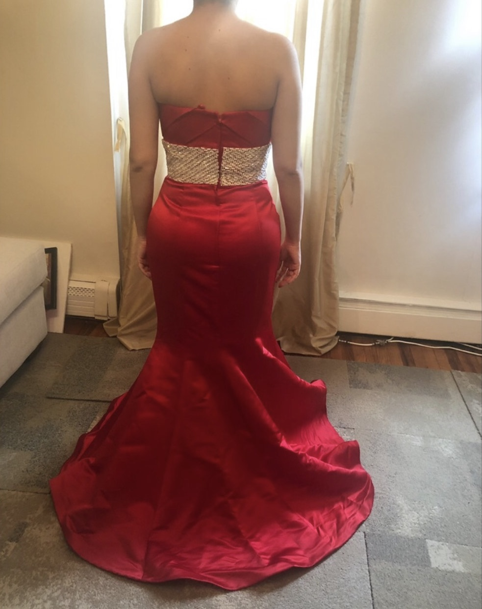 Jovani Red Size 12 Medium Height Belt Polyester Ball gown on Queenly
