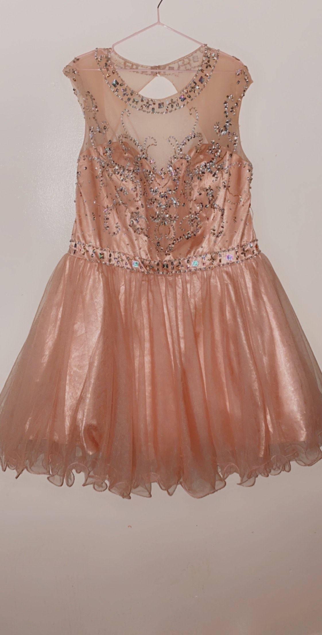 May Queen Pink Size 20 Homecoming Flare Halter Plus Size Ball gown on Queenly
