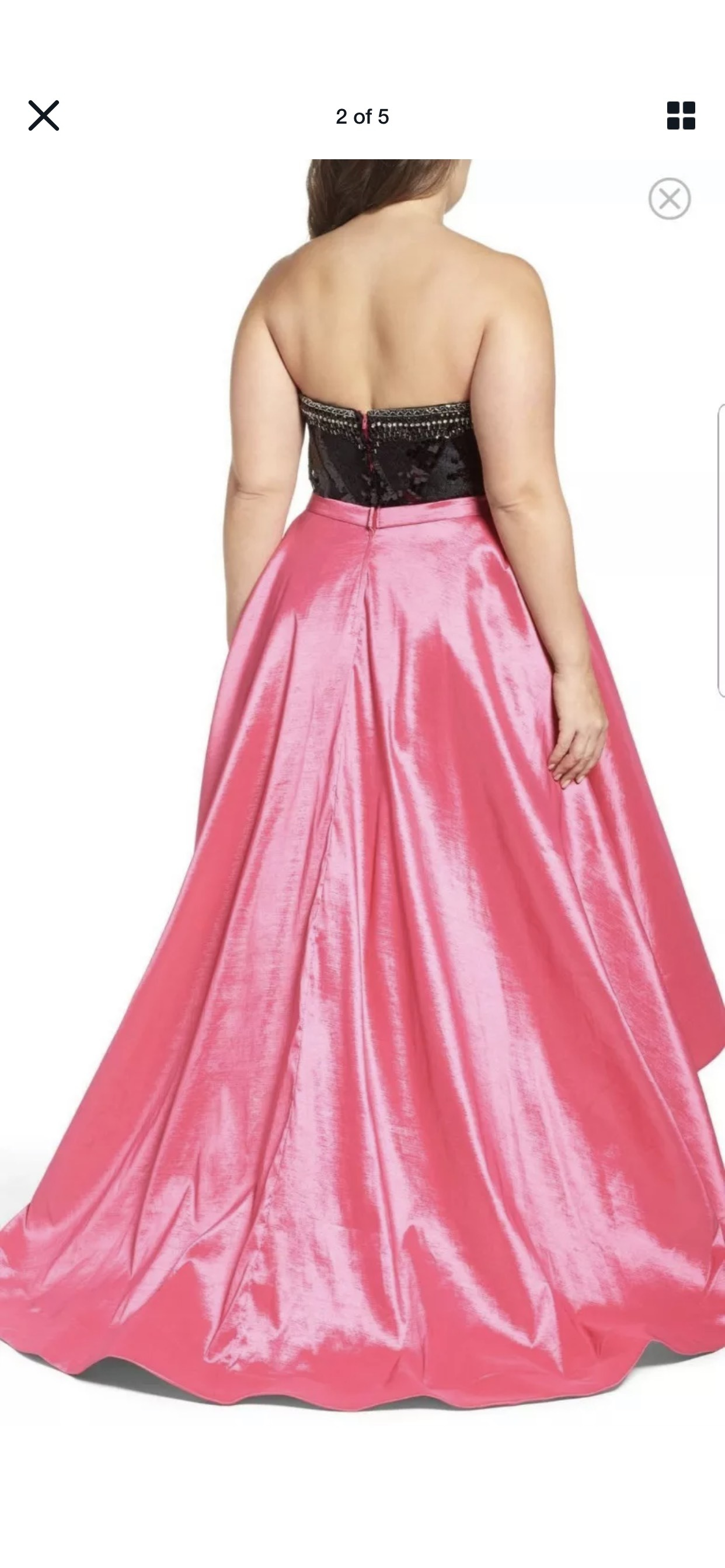 Mac Duggal Pink Size 14 High Low Sweetheart Strapless Plus Size A-line Dress on Queenly