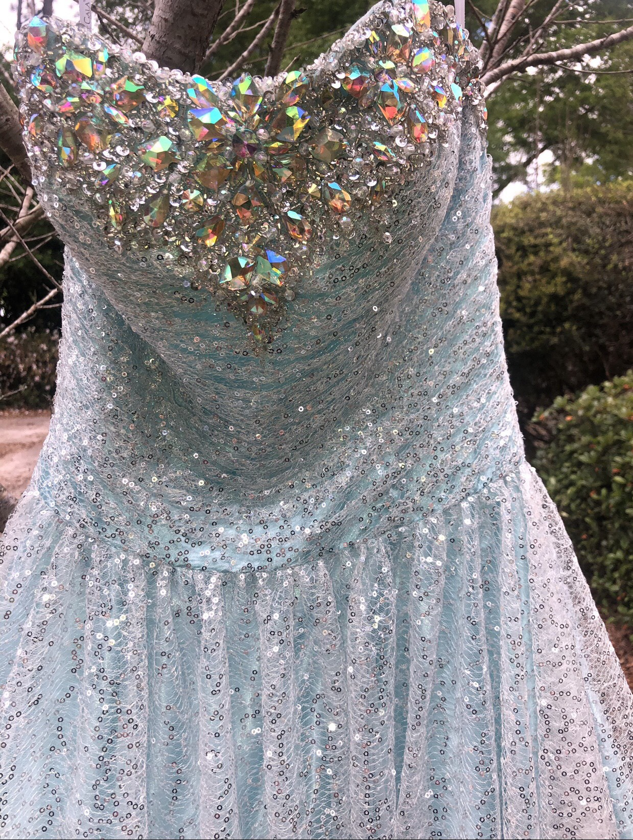 Tony Bowls Light Blue Size 4 Tulle Ball gown on Queenly