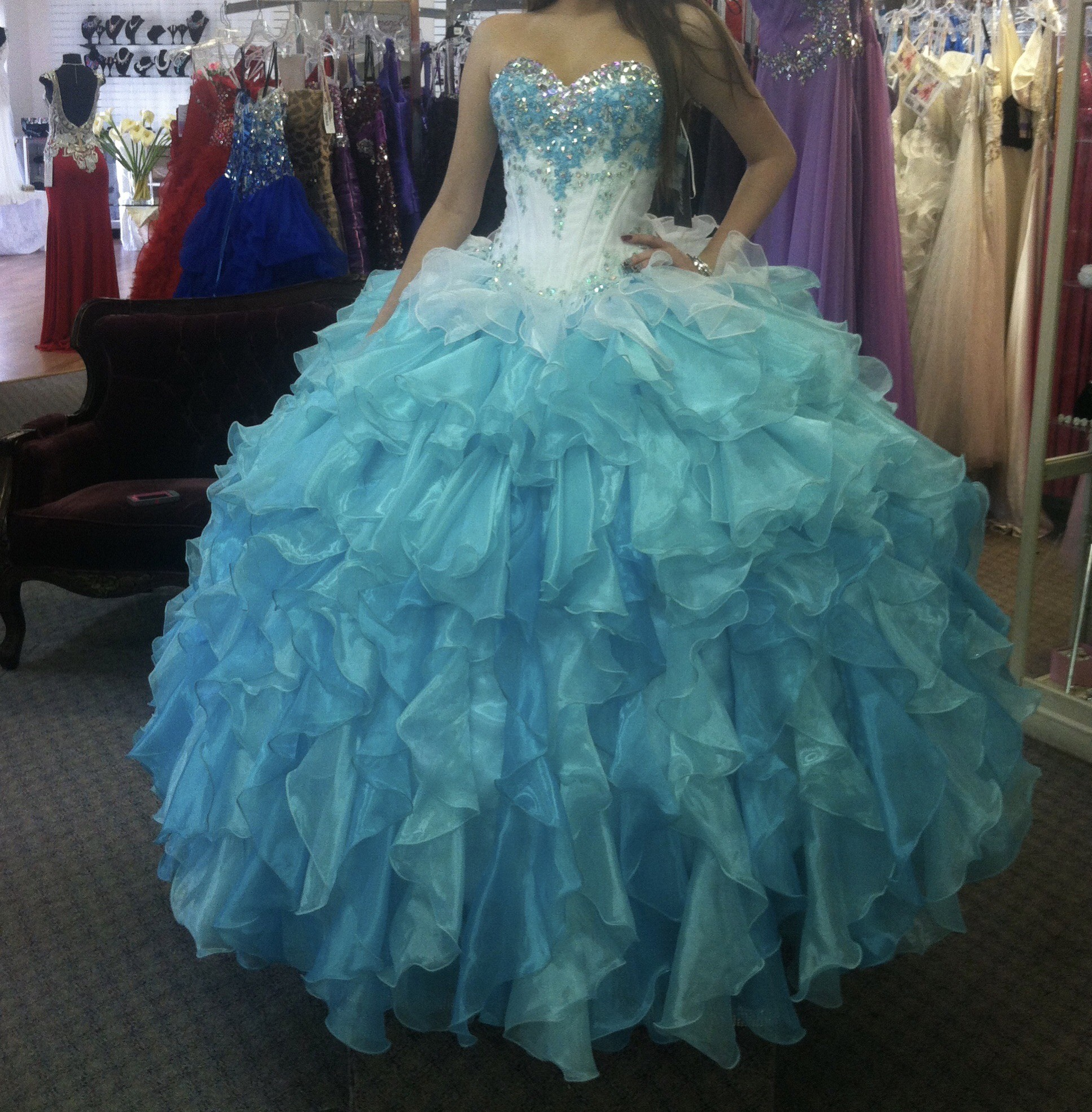 Bonny Bridal Multicolor Size 6 Ombre Turquoise Quinceanera Custom Ball gown on Queenly