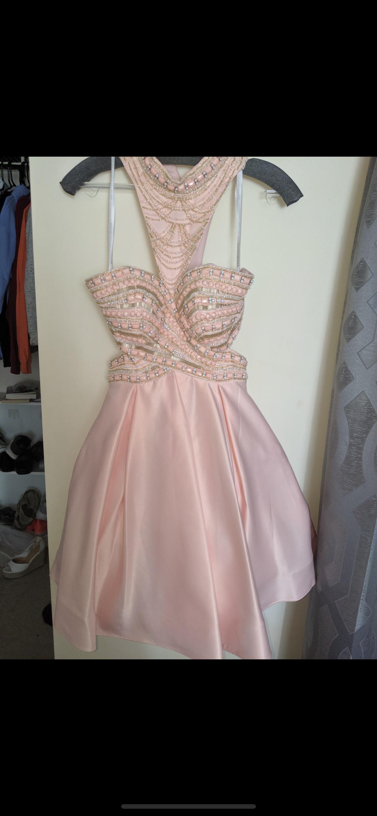 Rachel Allan Pink Size 2 Halter Cocktail Dress on Queenly
