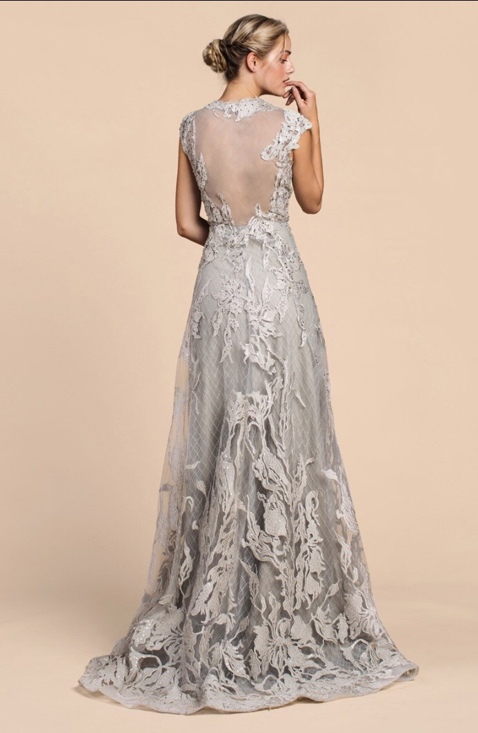 Andrea & Leo Silver Size 8 Cap Sleeve Sheer Lace A-line Dress on Queenly